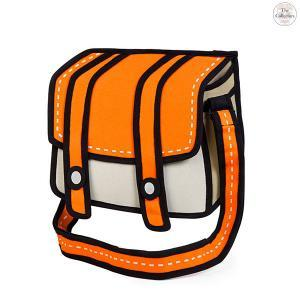 Comic Cartoon 2 D Shoulder Messenger Bag Orange Cheese