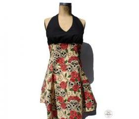 Handmade Skulls & Roses Tattoo Vintage Pinup Rockabilly Dress