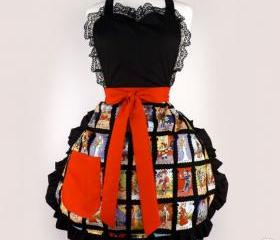 "Handmade Day of the Dead ""Cartas Marcadas"" Apron"