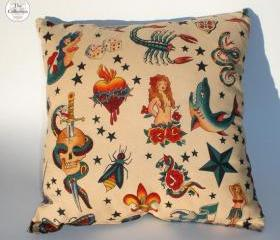 "Handmade Cream ""Tattoo"" Rockabilly Pinup Pillow"