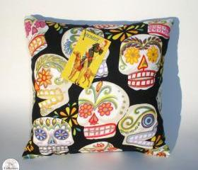 Handmade Day Of the Dead 'Sugar Skulls' Rockabilly Pinup Pillow