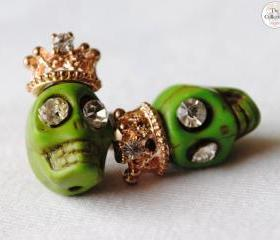 Handmade 'Green Skull Monster' Lucky Money Earrings