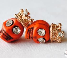 Handmade Dead 'Orange Monster' Rockstar Skull Earrings