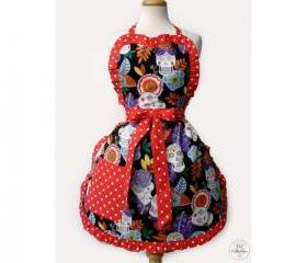 Handmade Tattooed Skull & Roses Rockabilly Pinup Apron