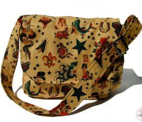 Handmade Vintage Tattooed Rockabilly Messenger Bag