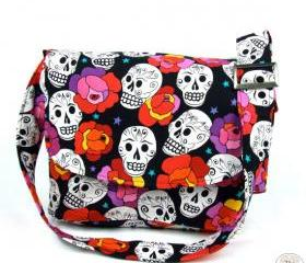 "Handmade ""I Scream For Sugar Skulls"" Messenger Bag"