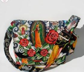 Handmade Virgin De Guadalupe Aztec Tattoo Messenger Bag
