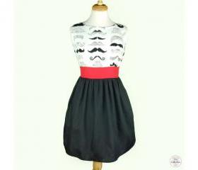 Handmade Pin Up Vintage Mustache Rockabilly Dress