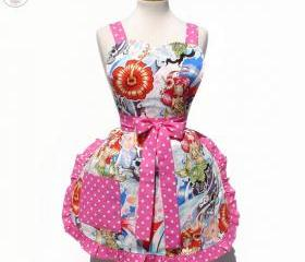 Polka Dots Skulls Little Mermaid Hawaiian Summer Apron