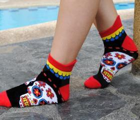 I Love Sugar Skulls Bright Red Ankle Socks