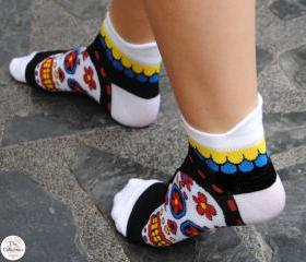 'I Love Sugar Skulls' Snow White Ankle Socks
