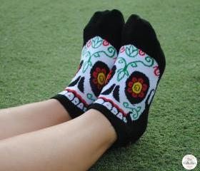 Golden Tooth Sugar Skull Addict Ankle Socks