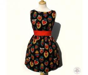 Handmade Pinup & Rockabilly Sacred Heart Milagro Dress