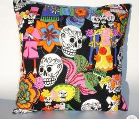 Dia De Los Muertos 'Sugar Skulls' Rockabilly Pillow
