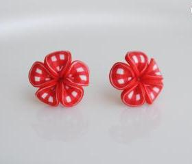 Red Ribbon Flower 'Pinup Picnic' Women Earrings