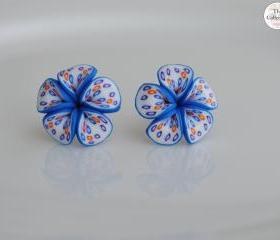 Blue Frangipani Butterfly Wing Lucky Flower Earrings