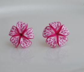 Pink Frangipani Butterfly Wing Lucky Flower Earrings