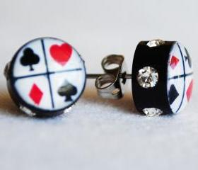 Suits 'Rockabilly Playing Cards' Tattooed Earrings