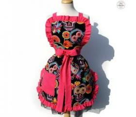 "Day Dead ""Hot Pink Sugar Skull"" Rockabilly Apron"